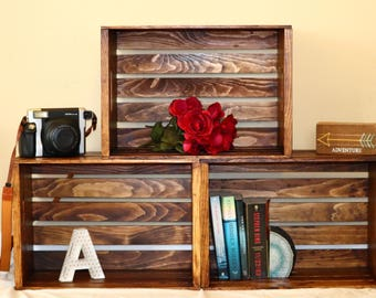 Stained Wooden Rustic Storage Crates