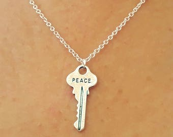 Peace Key Necklace - Word Jewelry - Peace Necklace - Silver Key Necklace - Charm Necklace - Word Necklace - 2 Sizes Available