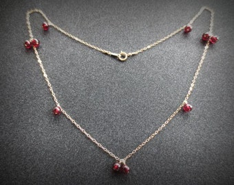 Garnet beads necklace, choker, 14K gold, handmade