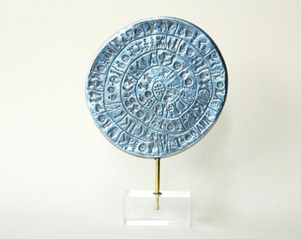 Greek Phaistos Disc Sculpture, Greek Minoan Crete Sculpture in Aluminium, Greek Mythology, Metal Art Sculpture, Museum Quality Art Replica