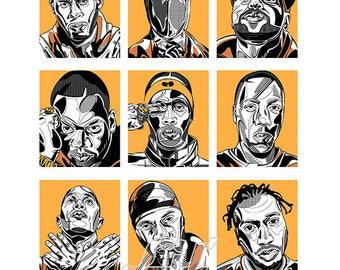 Wu Tang Clan - original canvas on pine frame, artwork, artprint *watermark Lil'Print will be removed