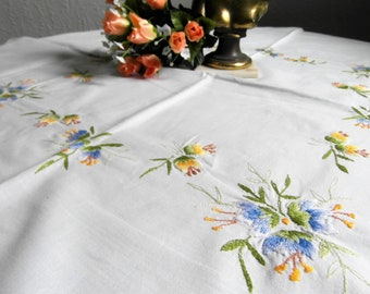Tablecloth fine embroidered blue yellow bell flower embroidery Rustic Table Decoration