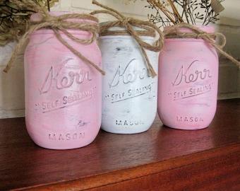 3 Shabby Chic Pastel Pink  & White Hand Painted Mason Jars - An Adoption Fundraiser