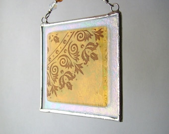 Amber Mehndi Fused Glass Light Catcher Suncatcher