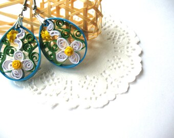 Quilling blue Chamomile Earrings, paper quilling jewerly, anniversary gift for her
