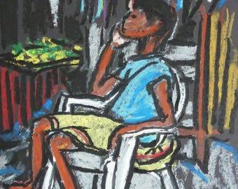 Wall Art - Art Print - Jamaica Art - Going to Market - Matted Print - Leah Reynolds