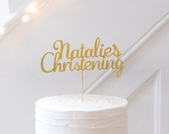 CHRISTENING CAKE TOPPER. Baptism Cake Topper. Baby name. Christening Name Cake Decoration.First Communion.Christening Cake.Baby Christening.
