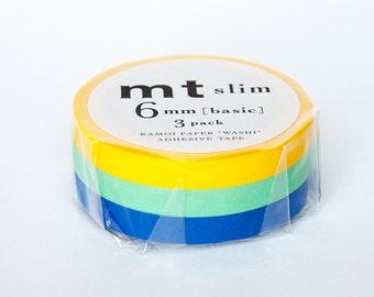 thin washi tape set - yellow, blue and green - mt slim [mt masking tape]