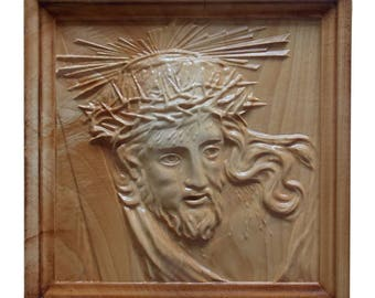 Jesus Sculpture Wood Carving, Religious Art, Resurection, Catholic, Crown of Thorns, Jesus Christ Wood Wall Art, Crucifixion, Christian Gift