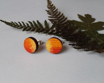 Wood Hand Painted Circle Stud Earrings in Red, Orange and Gold (1cm diameter)