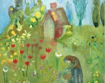 oil painting floral on paper expressionist flower gardener original unframed