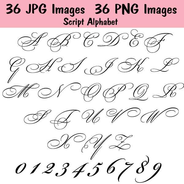 Fancy Script Monogram Alphabet INSTANT DOWNLOAD 72 IMAGES