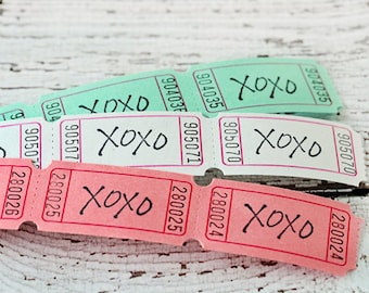 Set of 12 xoxo t tickets, hugs and kissed ticket, paper goods, scrapbooking, card making, packaging, embellishments, tags, colored tickets