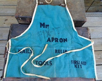 vintage nail apron Mr FIX IT tools first aid collectible decor mancave
