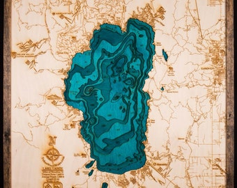 Large Lake Tahoe 3-D Wooden Map