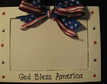 Fourth of July 4th Americana Patriotic personalized  photo picture frame
