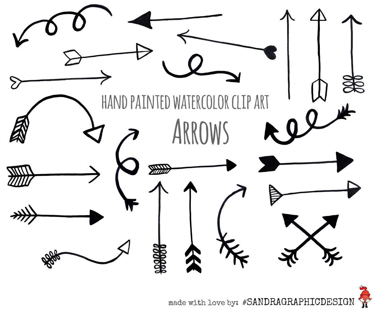 arrow clip art black arrows hand painted black rh etsy com arrow clip art vector arrow clip art free