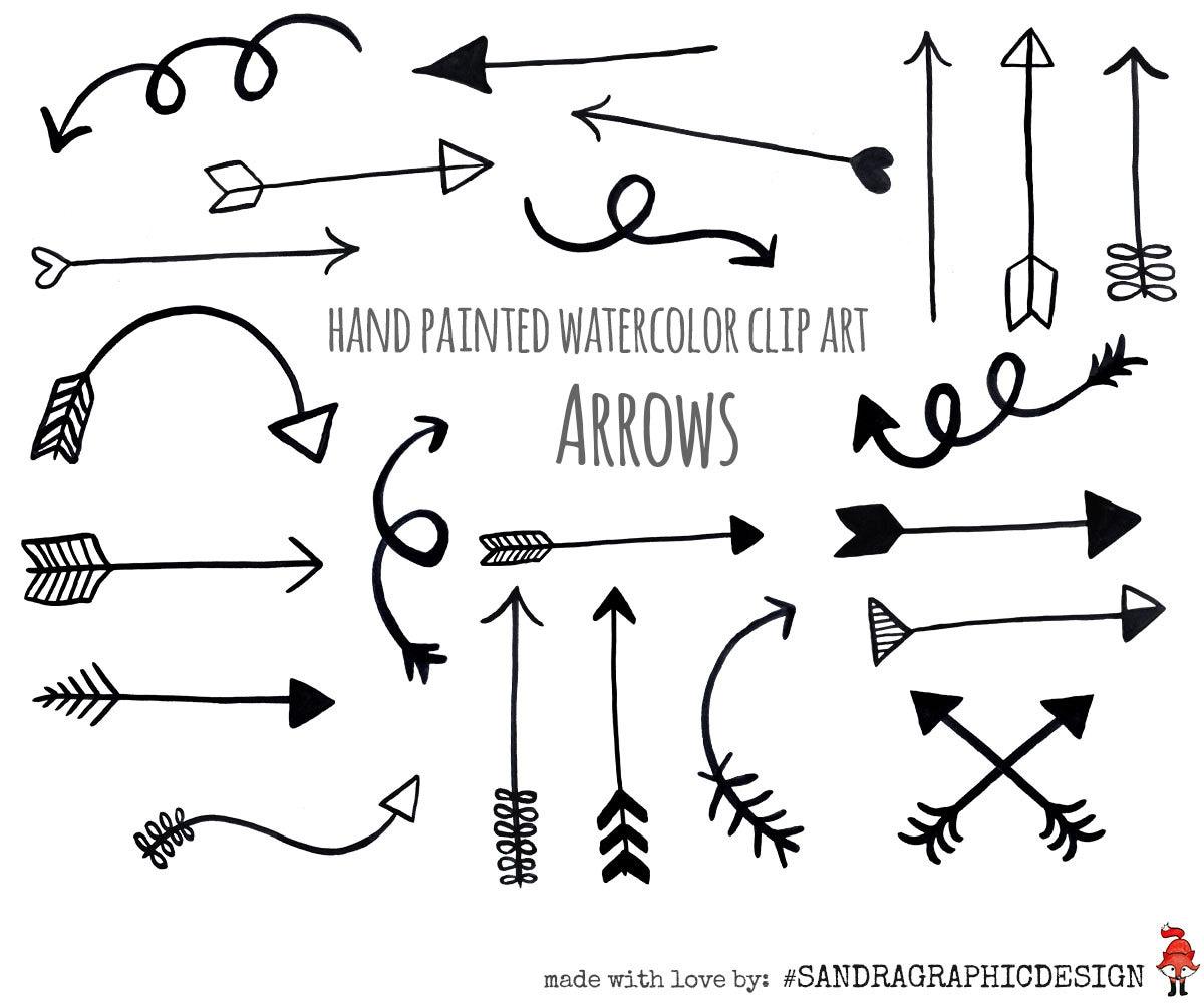 arrow clip art black arrows hand painted black rh etsy com arrow clip art images arrow clip art black and white