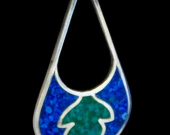 Mexican silver drop earrings with blue and green inlay from the 1970's