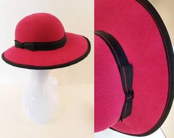 Vintage Hot Pink Cerise with Black Trim Wool Felt Hat made by Bermona Size Medium