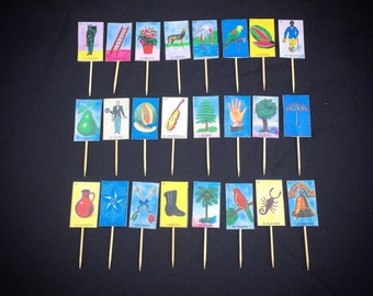 Set of 24 Loteria Card Cupcake Toppers