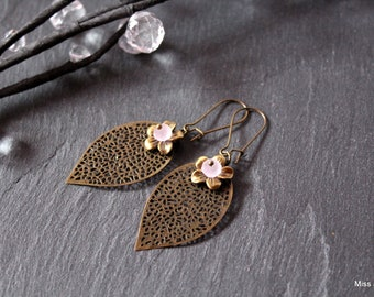 Earrings bronzes pretty leaves and pink Crystal beads