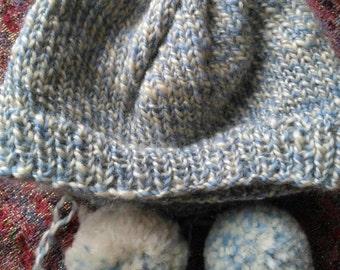 Hand spun hand knit baby hat.