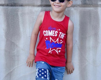 Ready to ship, Boys 4th of july tank, 4th of july shirt for boys, 4th of july outfit, toddler boy 4th, here comes the boom, fireworks shirt