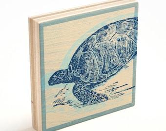 Coastal Art, Coastal Mom Gifts, Wife Gift, Sea Turtle Art Block, Sea Turtle Print, Sea Turtle Gifts, for Mom, Coastal Gifts