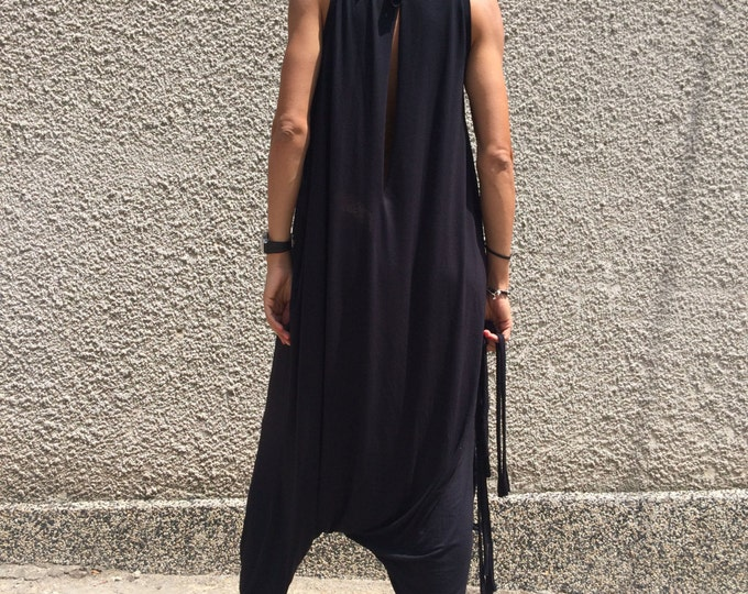 Overalls Black Cotton Jumsuit, Plus Size Jumpsuit, Oversize Drop Crotch Harem Pants, Loose Maxi Dress by SSDfashion