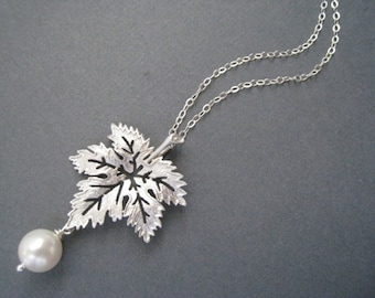 Maple Leaf and Pearl Necklace in STERLING SILVER CHAIN--Perfect Gift gift for mom Birthday Present for her for friends