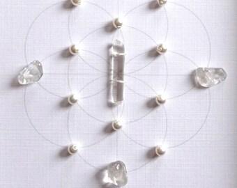 WEDDING BLESSING GRID --- framed sacred crystal grid --- clear quartz, pearl