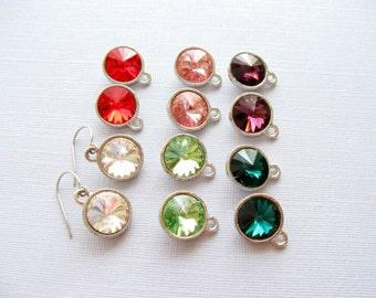 Swarovski Rivoli Earrings, Round Rhinestone Earrings,