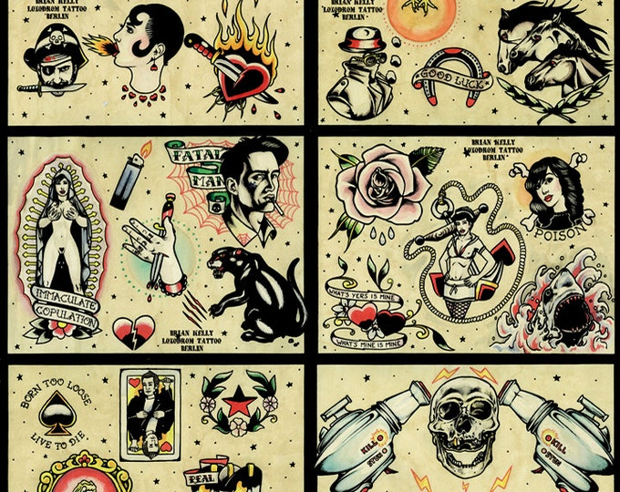 Tattoo Flash Set 4 by Brian Kelly. 6 sheets.