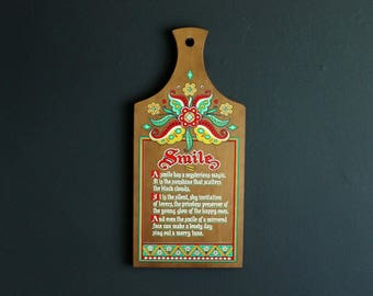 Vintage Berggren Wood Cutting Board Smile Hand Screened Poem Scandinavian Design Wall Decor