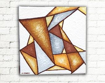 Geometric Art Wall Decor, Canvas Art Block, Original Abstract Acrylic Painting, Modern Art, Brown Gray Triangle Art 6x6