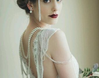 Greater than Gatsby -- Old Hollywood Glam Art Deco Wedding Headpiece -- Gatsby Wedding, Wedding Headpiece, Deco Wedding Piece, Flapper,