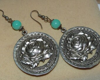 Rescued, Repaired, Upcycled Vintage Stand OUT BIG rose Earrings Boho Indie
