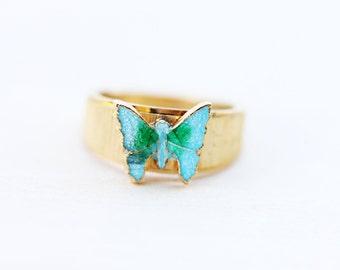 Butterfly Ring Enamel, Blue Butterfly Ring, Enamel Ring, Size 6