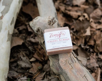CHERRY ALMOND - Zemyra Soap - 100% Vegan Olive Oil Soap -  5 oz bar