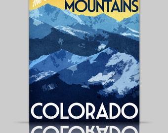 Colorado Travel Print Rocky Mountains Vintage Style Poster in Deep Blue, Yellow, Orange Textures