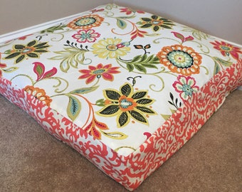 Giant Floor Pillow Cover; Free Ship; Reversible; Square Floor Seat; Girl's Pillow Cover; Nursery Decor; Flowers; Coral