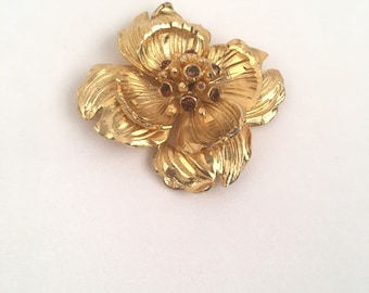 Gold Hobe Dogwood Flower Brooch Necklace Pendant Signed Topaz Rhinestone Pin 50s 60s Costume Jewelry November Birthstone