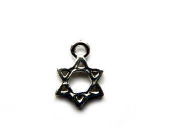 25 Silver Star of David Charms
