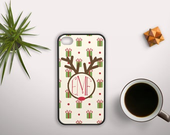 Elegant and Stunning Monogrammed Phone Case - Christmas Wrap w/ Rudolph Name Badge for Apple iPhone & iTouch Devices