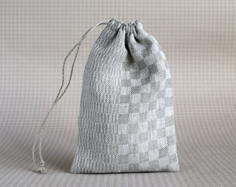 Checkered drawstring pouch with lining Fabric gift bag Crystal pouch  Natural linen gift bag