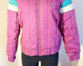 Lighting Bolt Fuscia and Teal Puffy Winter Jacket size Large