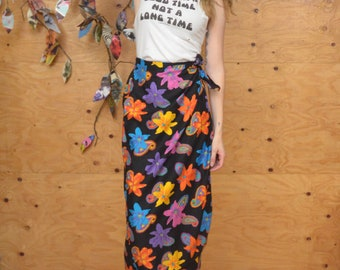 Vintage 80's Skirt Tropical Gypsy Wrap Maxi In Black & Rainbow Colors With Floral Pattern SZ S