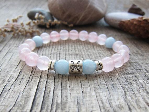 Pisces bracelet Rose quartz bracelet March birthstone Pisces