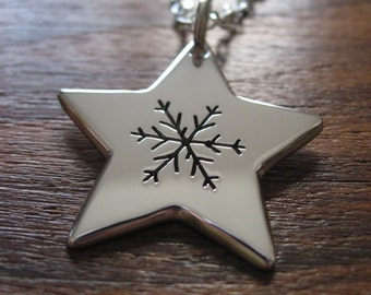 Silver Star and Snowflake Necklace Pendant